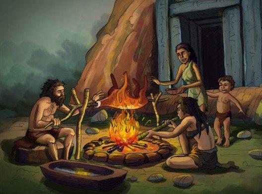 Essen und Backen in der Steinzeit (Bild: Paper Dream – Shutterstock.com)